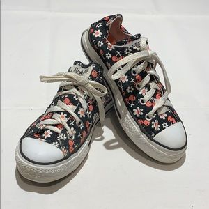 Girls Converse All Stars Black & Pink Floral Sz 13